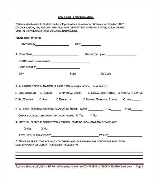 hr complaint discrimination form