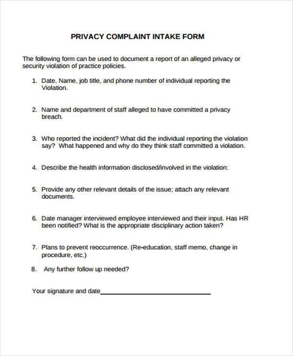 hr complaint intake form
