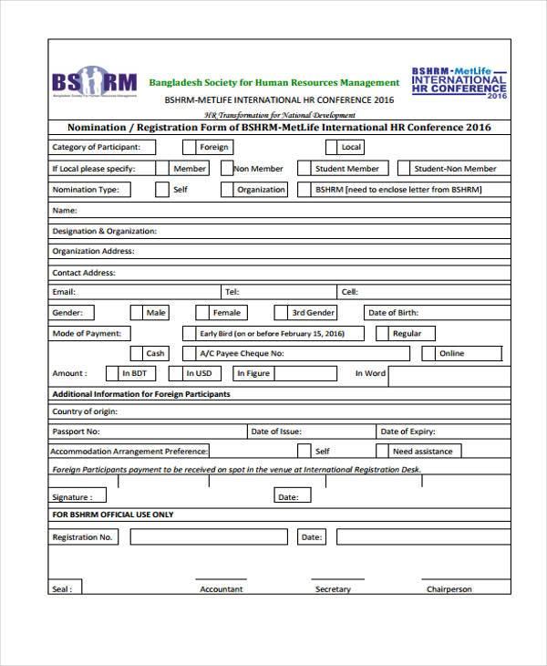 hr conference registration form