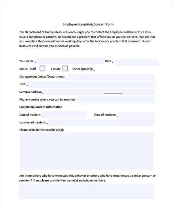 hr employee complaint form