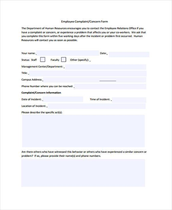 hr employee complaint form1