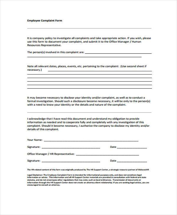 hr employee complaint form3
