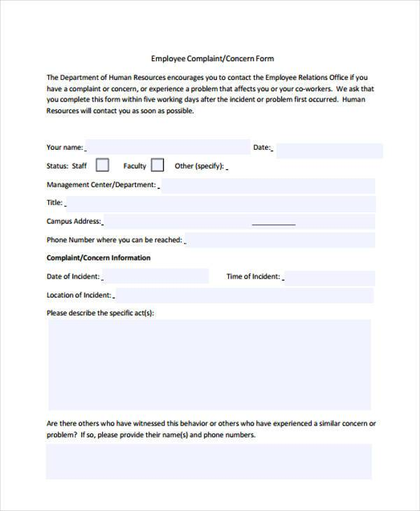 Complaint Form Template Pictures Inspiration ~ Hr Forms Templates