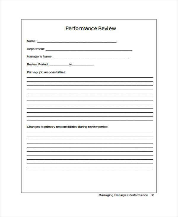 hr employee performance form