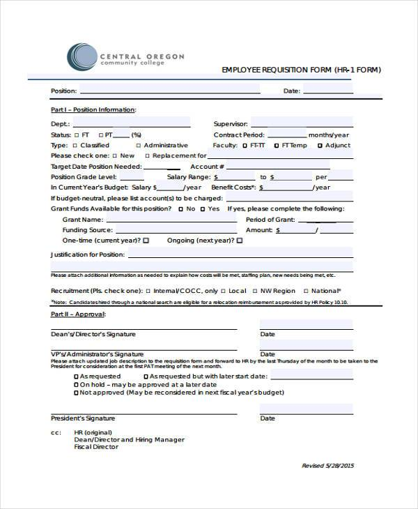 hr employee requisition form