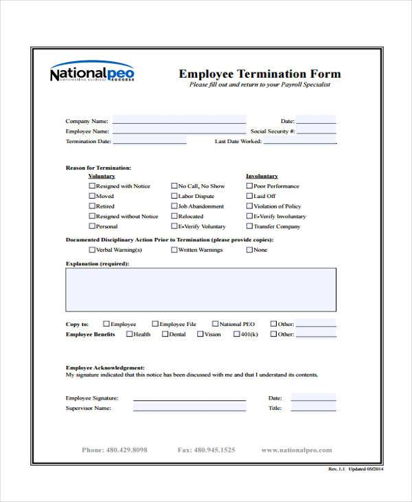 hr employee termination form