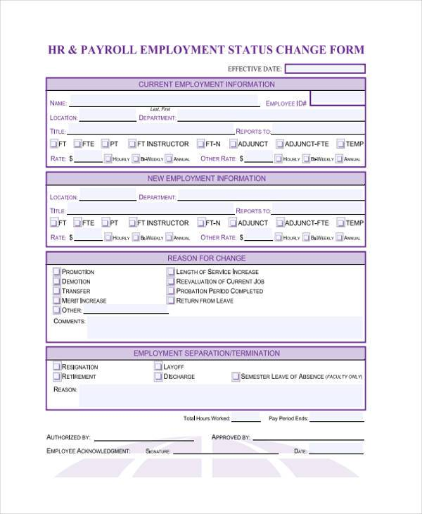 hr employment status change payroll form