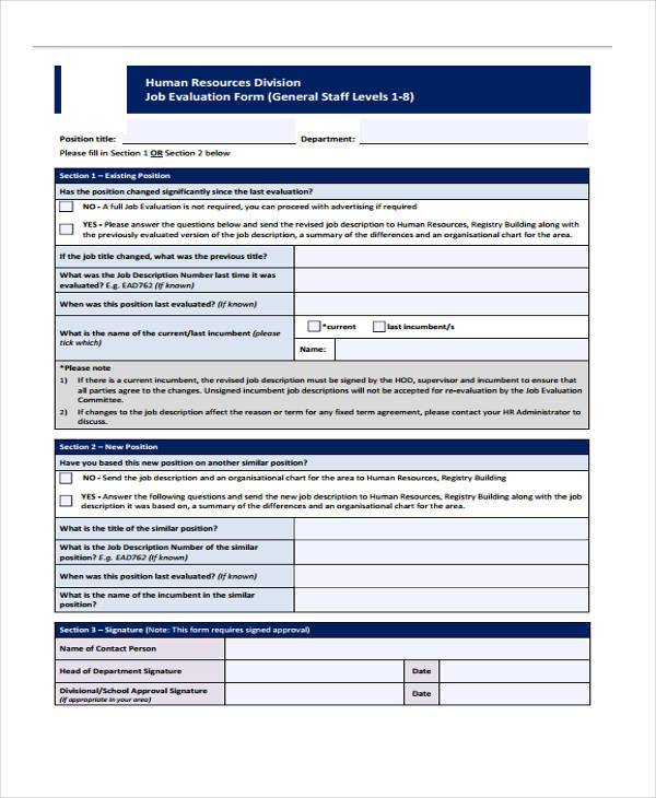 hr evaluation form