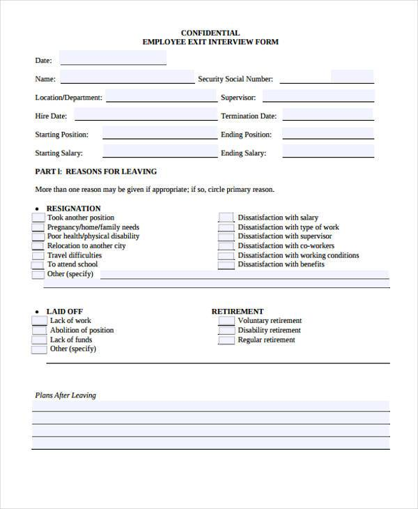 29 HR Form Templates – Exit Interview Form