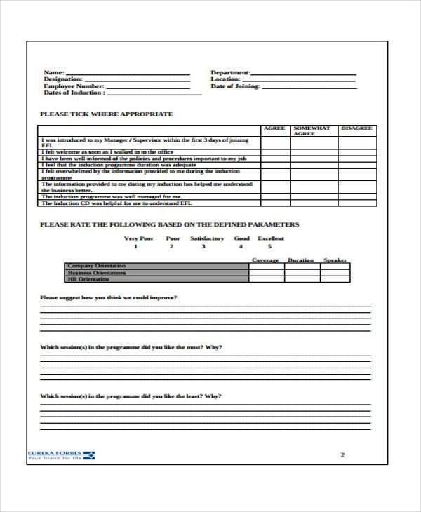 hr induction feedback form - Hr Form