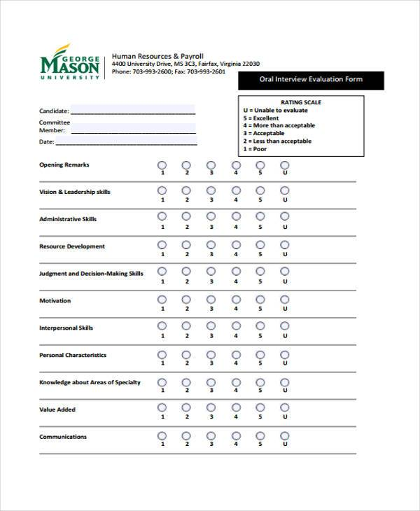 hr interview evaluation form