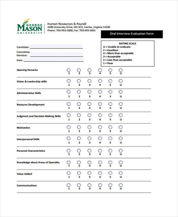 hr interview evaluation form2
