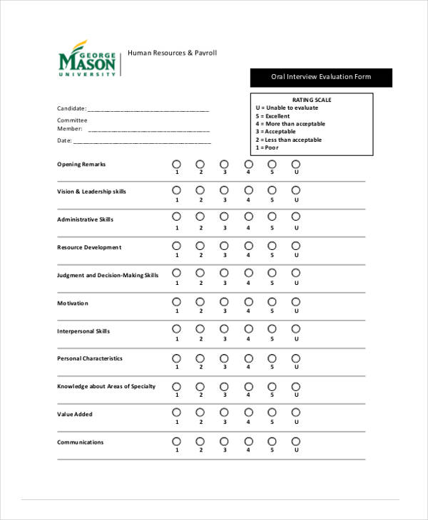 hr interview payroll evaluation form