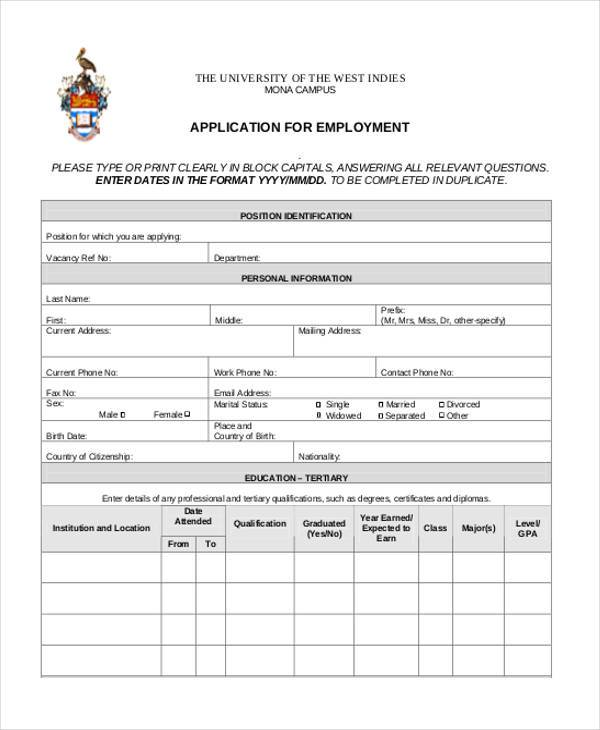hr job applications form