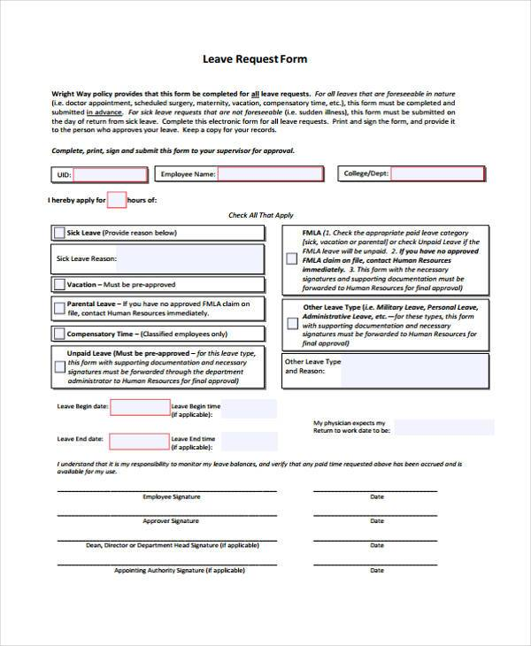 hr leave request form