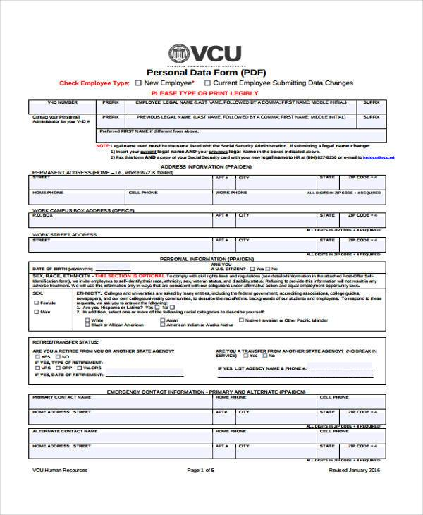 hr legal form example