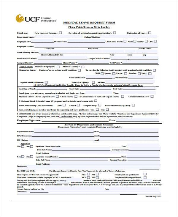Medical Leave Form Medical Leave Request Form Sample Leave Request