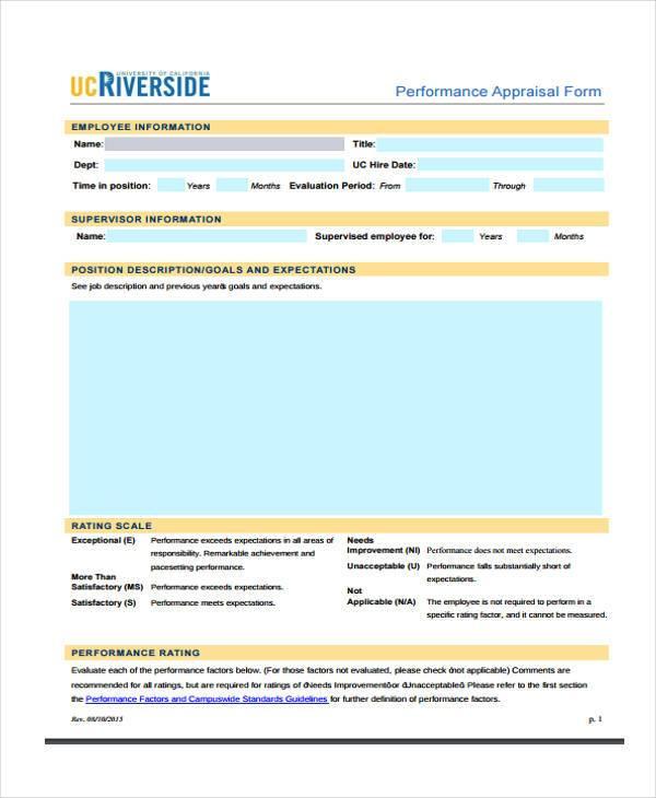 hr performance appraisal form