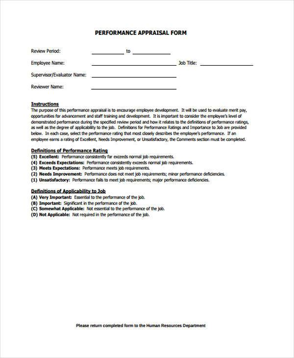 hr performance appraisal form1