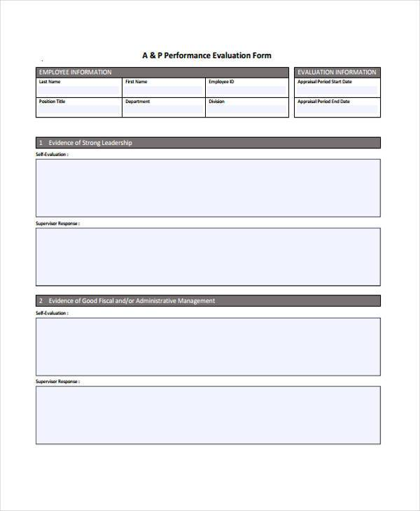 HR Performance Evaluation Form
