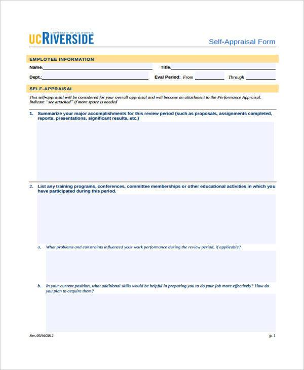 hr self appraisal forms