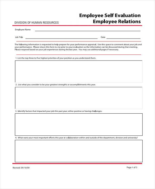 hr self evaluation form1