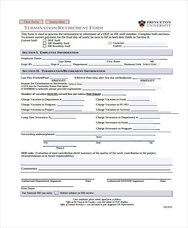 hr termination retirement form