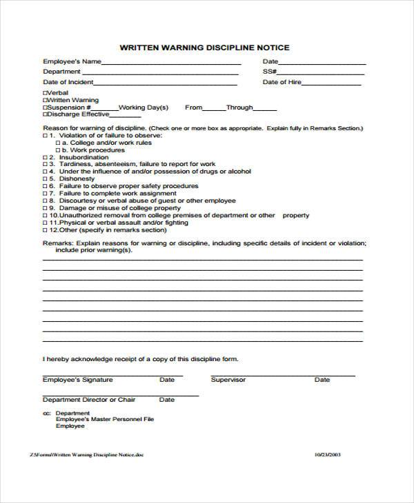 hr warning letter form