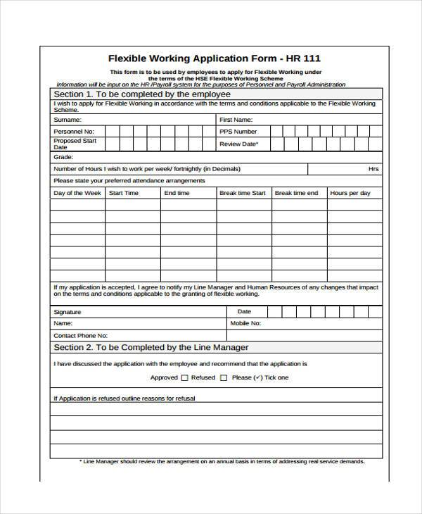 hr working application form