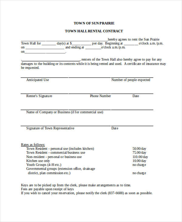 hall rent contract form