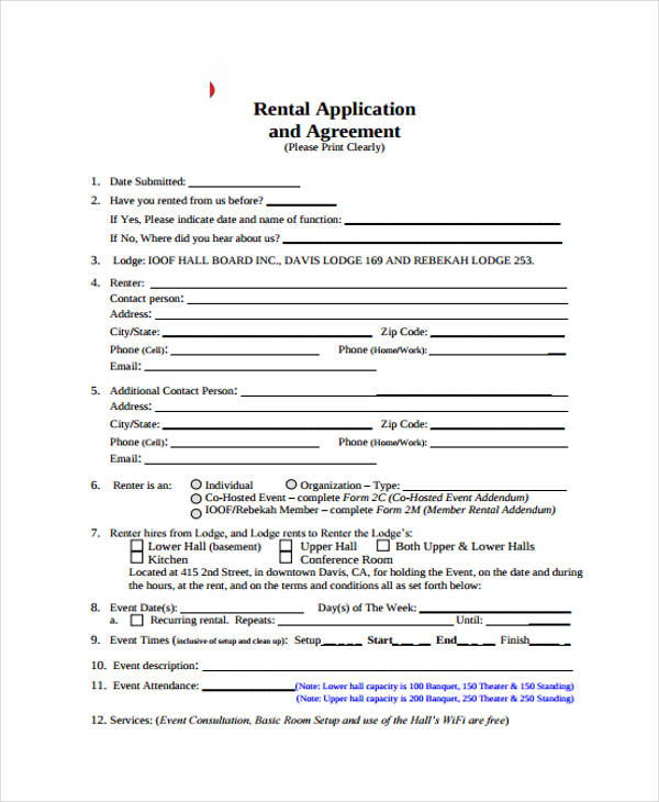 Rental Agreement Forms In Pdf