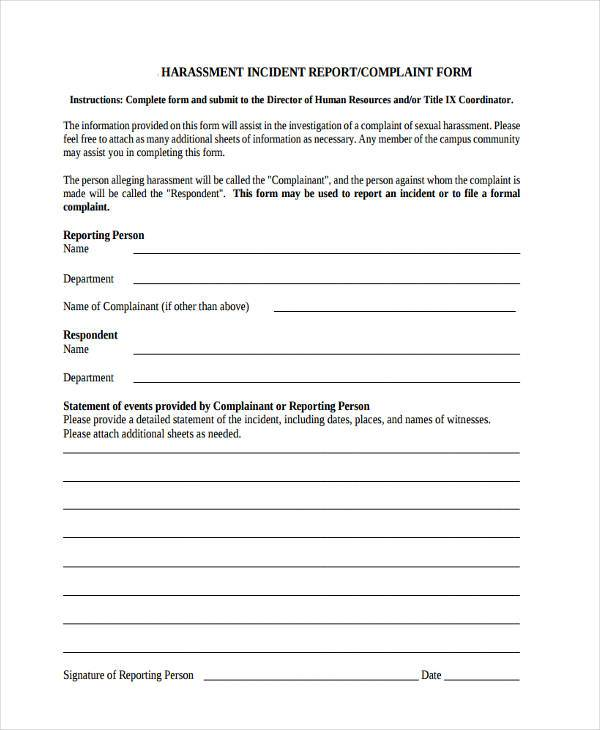 Sample Complaint Form