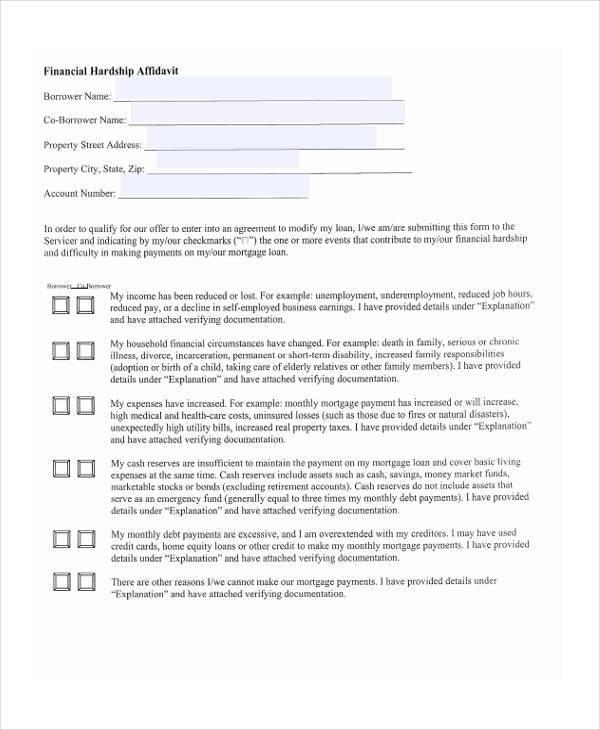 hardship affidavit and financial form