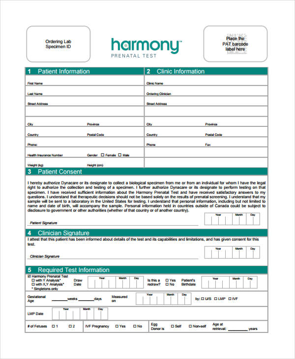 harmony prenatal test requisition form