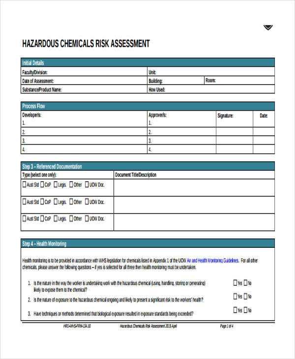 hazardous chemical risk assessment form