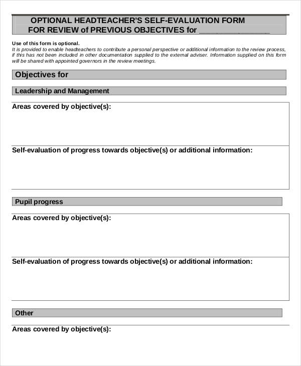 head teacher self evaluation form