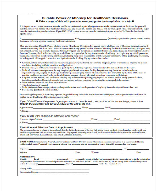 health care durable power of attorney form1