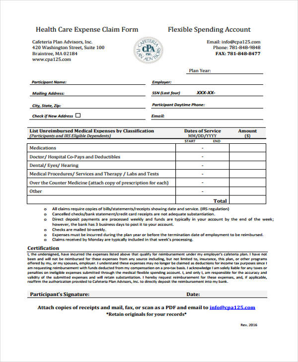 health care expense claim form1