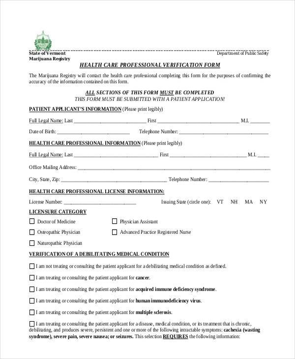 health care professional verification form