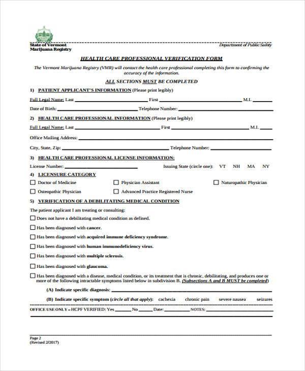 health care professional verification form1