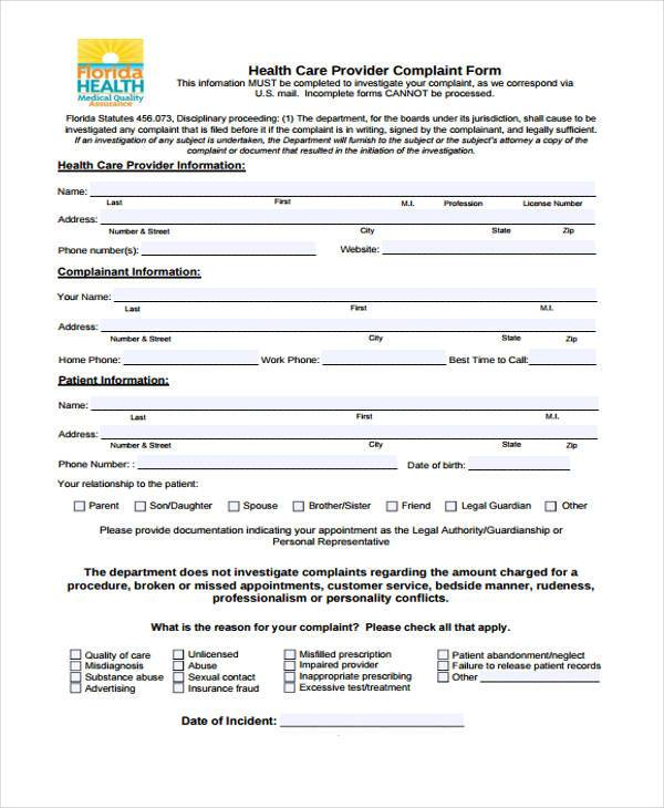 health care provider complaint form