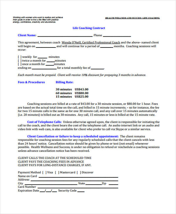 Gym Contract Template Performance Contract Template Gym Contract