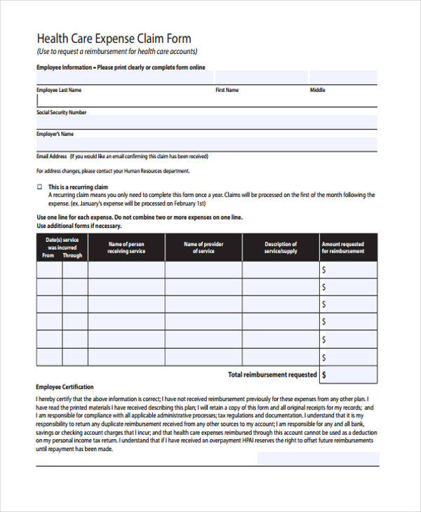 health expense claim form