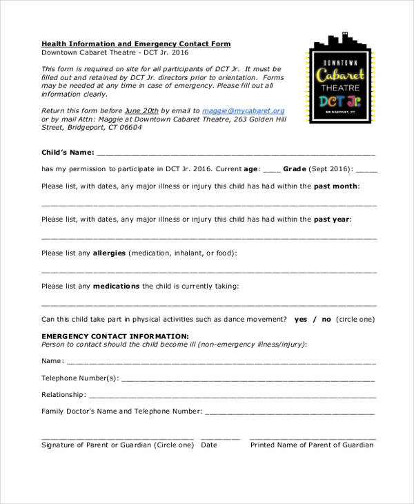 health information emergency contact form