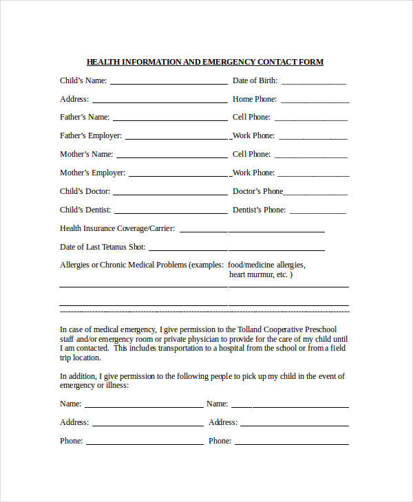 health information emergency contact forms