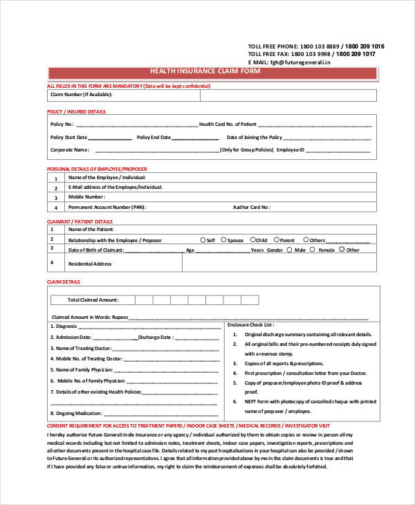 health insurance claim form2