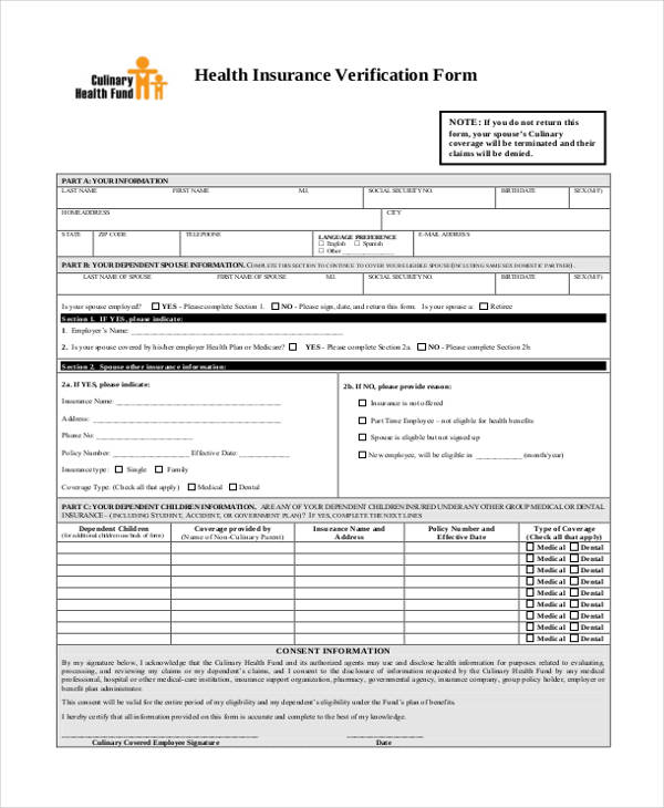 health insurance verification form2