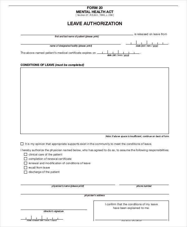 Sample Leave Authorization Form Free Documents In Word Pdf Leave