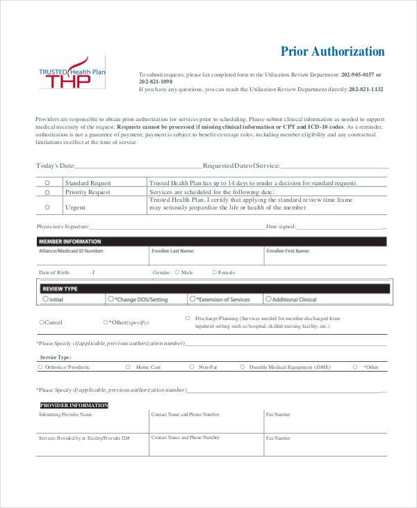 health plan prior authorization form