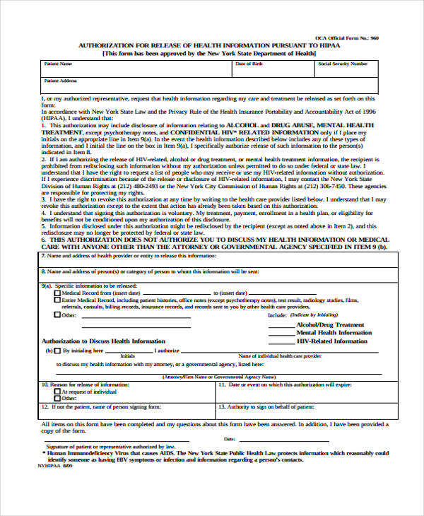 health release authorization form
